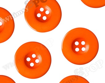 30mm Buttons, Orange Buttons for Sewing Scrapbooking and More, 30mm Round, 4 Hole Buttons - Sold in Packs of 5, 10, or 15 Buttons