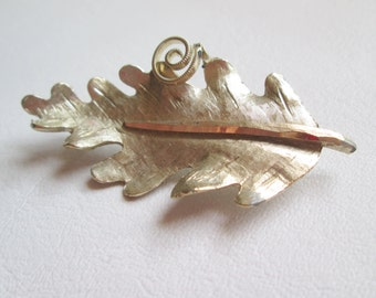 Stunning Vintage BSK Leaf Pin SilverTone