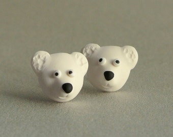 Winter animal jewelry - cute polar bear post earrings - white jewelry handmade - gift for girls