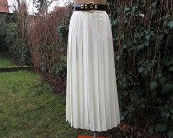 Pleated Long Skirt  / Skirt Vintage / Maxi Pleated Skirt / White Pleated Skirt / White /  Ivory / Cream / Size EUR36 / 38 / UK8 / 10