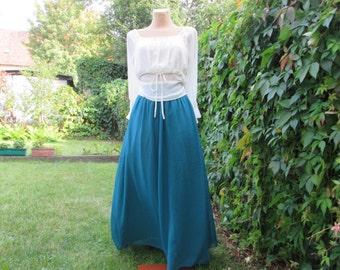 Lovely Long Skirt Vintage / Turquoise / Seafoam / Maxi / Full / EUR 42 / UK14