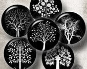 BW Trees - Digital Collage Sheets CG-662B 1.313 inch circles for 1 inch Buttons, Magnets - craft supplies, jewelry making, digital downloads