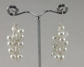 White pearls and clear crystal chunky earrings - wedding jewelry- brides