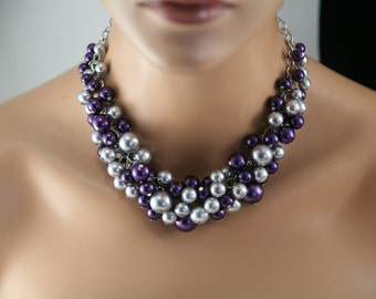 Purple and grey (gray)  statement pearl necklace-  chunky pearl necklace ,purple wedding, chunky purple pearl necklace, gray purple necklace