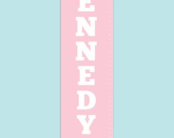 Personalized Bold Colored Canvas Growth Chart - Preppy Pennant