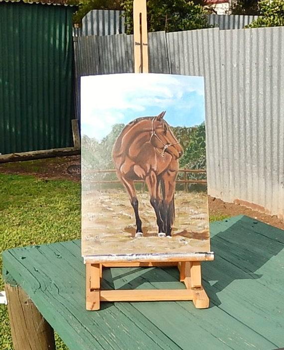 "Original painting of a brown racing horse in Acrylic paint, Horse painting, Animal painting, 16.4 x 11.3"""