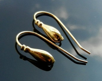 Gold Vermeil EARWIRES over Sterling Silver Euro Ear Hooks 925