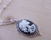 Womens Lolita Skull Cameo Necklace Steampunk Day of the Dead