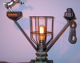 Caged Horse -- Steampunk Lamp Light/ Industrial Lamp