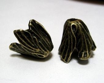 Flower Bead Caps Tulip Antique Bronze 18mm 4 pieces