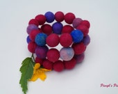 Felt Beads Bracelet - Purple Blue Pink Felt Bead Bracelet OOAK - Eco-friendly