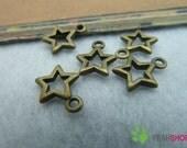 Antique Brass Pendants - Star - 10mmx12mm - 50 PCS (JP80)*