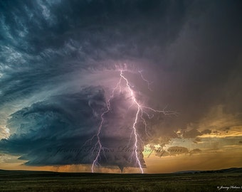 The Most Amazing supercell thunderstorm with a tornado and lightning in Mullen Nebraska