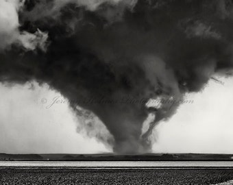 Black and White fine art print of an amazing supercell with Tornado in Nebraska.