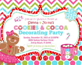 COOKIES and COCOA decorating party holiday invitation - YOU Print