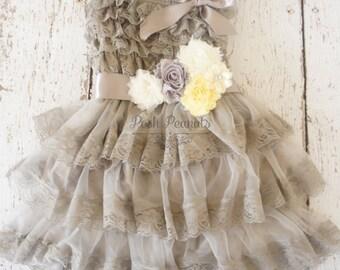 Flower Girl Dress -Lace Flower girl dress -Baby Lace Dress - Rustic -Country Flower Girl - gray flower girl dress - silver flower girl dress