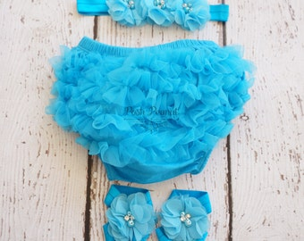 Diaper cover set- blue diaper covers- Ruffle diaper cover - Diaper cover set- Baby girl diaper cover set- Turquoise bloomer