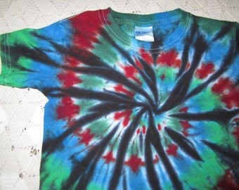 Tie dye Youth Extra Small shirt spiraled in crazy colors will ship today