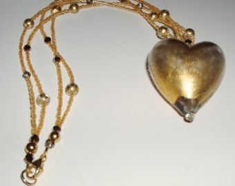24K Gold Infused Gray Murano Glass Heart Necklace