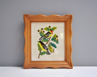 Vintage Framed Crewel Embroidery - Birds on a Branch