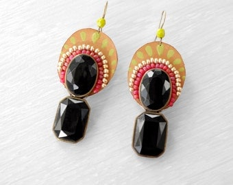 Black gem earrings with leather and glass beads