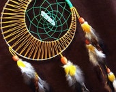 Dream Catcher- Moon Motions Signature Moon Dream Catcher- JUNGLE  MOON with Quartz Crystal- Made to Order