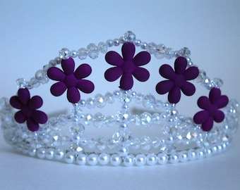 Pretty Purple Flower, Crystal and Pearl Tiara