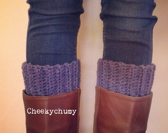 Thistle colour boot cuffs. Boot toppers. Leg warmers.