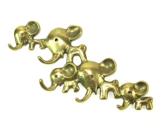 Vintage Walter Bosse BIG Modernist Austrian 1960s Brass Elephant Menagerie Wall Hook