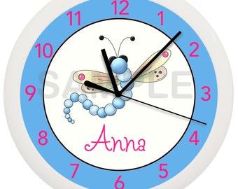 Personalized Blue Dragonfly Nursery Wall Clock Bathroom Children's Decor Art