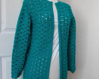 Woman's Crochet Sweater Coat Cardigan Cool Green Size Small/Medium