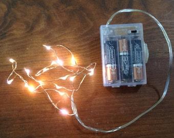 Fairy cottage light set, uses 3 AA batteries.