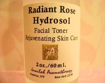 Organic Rose Otto Radiant Hydrosol Facial Toner - Skin Moisturizing, Rejuvenating - Fragrant Body Spray, Rose Skin Treat, Organic Hydrosol