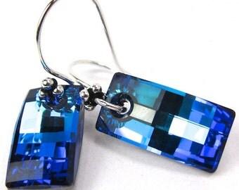 Large Blue Crystal Earrings, Swarovski Bermuda Blue Urban Earrings, New Swarovski Shape, Statement Earrings