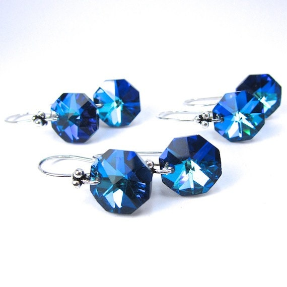 Blue Swarovski Earrings, Sparkly Vintage Strass Octagon Swarovski Bermuda Blue Earrings, Three Pair for Bridesmaids, Bridal, Wedding