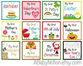 Baby holiday milestone iron on or sticker decals year-round set Valentine's Easter Mother's Father's Day 4th of July Halloween