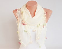 Turkish oya scarf hand crocheted  lace scarf, ethnik scarf,gift for her,yazma scarf
