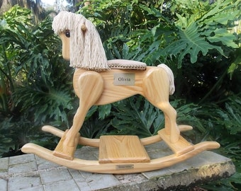 Rocking Horse Handmade Wooden-pony natural finish
