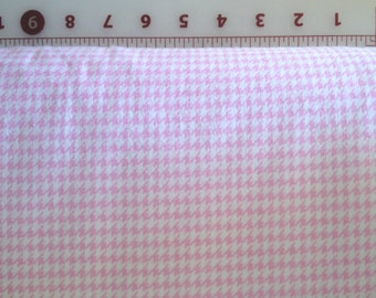 Pink and White Houndstooth Flannel Fabric 1 yard