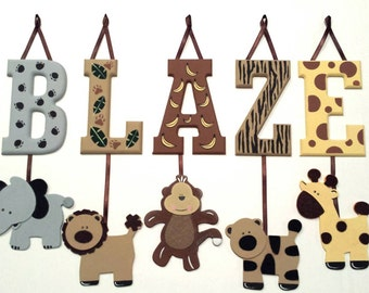 8 LETTER NAME -Individually Hanging Block Letters with adorable hanging shapes/animals jungle zoo safari Any Theme
