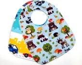 Set of 2 Baby Bibs with blue Minky dots - Truck and airplane, owl, fox, bear and deer - Baby shower gift