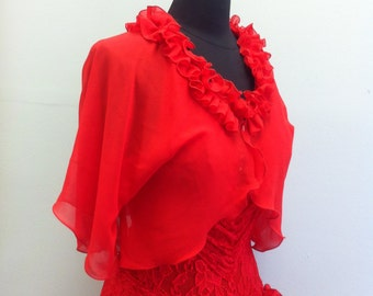 Red Chiffon Shrug