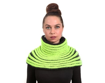 Hand Knit Cape Neon on Black, Tribal Inspired Cowl with Turtleneck by Solandia, fashion club style, women fashion, trend