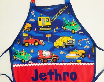 Trucks and tractors pretend personalized name play apron smock for toys, cooking tools, art supplies -  children 12 months to 6