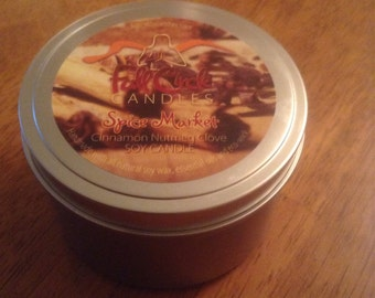 Cinnamon, Nutmeg, Clove Soy Candle - 8oz Tin - Natural Wick