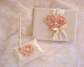 Guest Book, Wedding Guest Book and Pen Set  -  Rose Blossom Ivory  CUSTOM COLORS  too