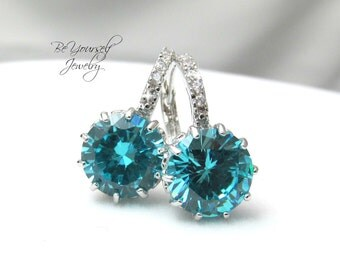 Blue Bridal Earring Teal Bride Earring Cubic Zirconia Wedding Jewelry Sterling Silver Sea Green Bridesmaid Gift Something Blue White Crystal
