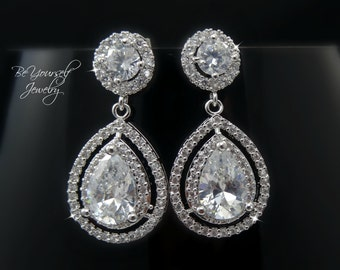 White Crystal Bridal Earrings Teardrop Bride Earrings Cubic Zirconia Wedding Earrings Bridesmaid Gift CZ Wedding Jewelry Sterling Earrings
