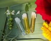 ESSENTIAL OIL SAMPLES - 1ml. Glass Vial Tester - Choice Listing Lavender Patchouli Lemon Clary Sage - Massage Body Oil Love Spell Prosperity