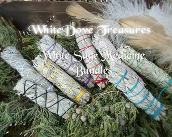 "WHITE SAGE SMUDGE Bundle Wand Stick 1+ Bulk Native Traditional 4""-6"" Gift Wrap ColorChart Instruction Reiki Ritual Clear Aura Altar Home"